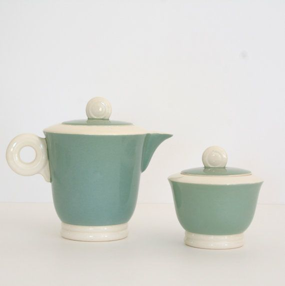 French Vintage Art Deco Green and White Teapot/ Coffee Pot and Sugar Pot,by Digoin Sarreguemines.