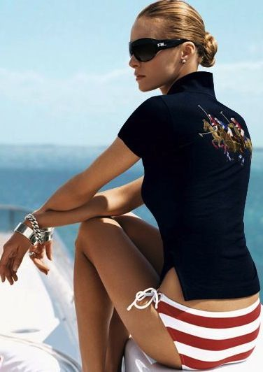 very sexy red white bikini swimsuit by Ralph Lauren paired with elegant black polo. she looks casual but chic