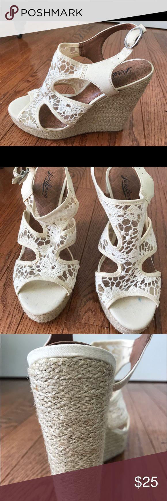Lucky Brand Wedges Never worn. Lacey pattern. Cream color. Lucky Brand Shoes Wedges