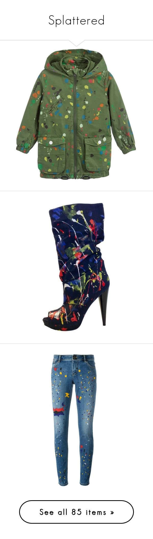 """Splattered"" by saint-mercy ❤ liked on Polyvore featuring jackets, shoes, boots, ankle booties, multi color boots, multicolor boots, multi colored boots, scrunch boots, ruched boots and jeans"