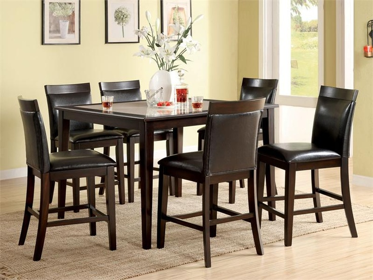 Eviuos Dark Walnut Counter Height Table Set