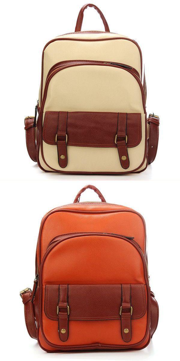 Backpack Expander Vintage Women Pu Leather Satchel Shoulder School Bag 3