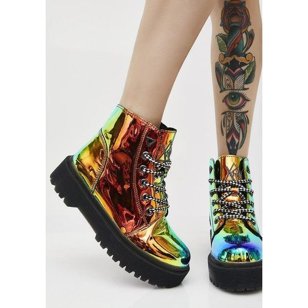 Y.R.U. Earthbound Slayr Boots ($165) ❤ liked on Polyvore featuring shoes, boots, punk rock boots, punk rock shoes, gothic lolita shoes, goth punk shoes and goth boots
