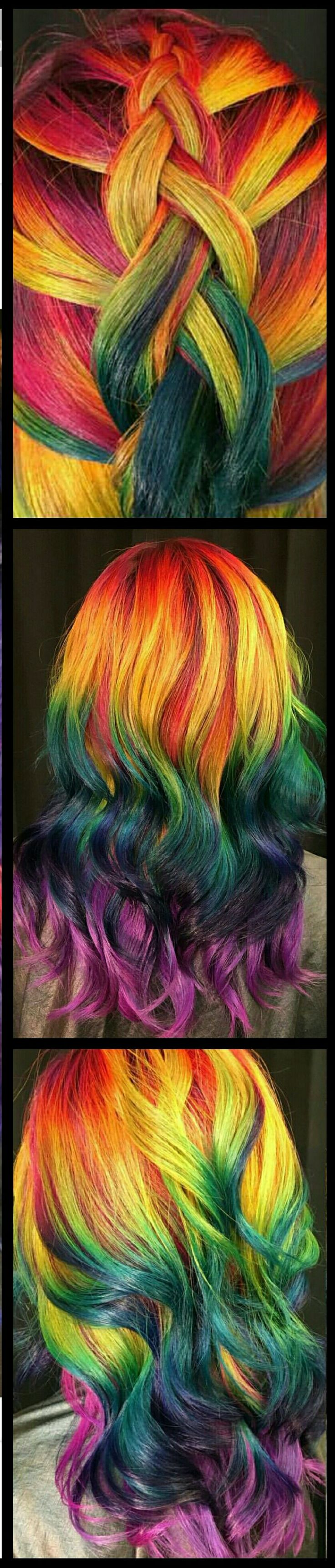 Rainbow dyed hair inspiration @uggoff