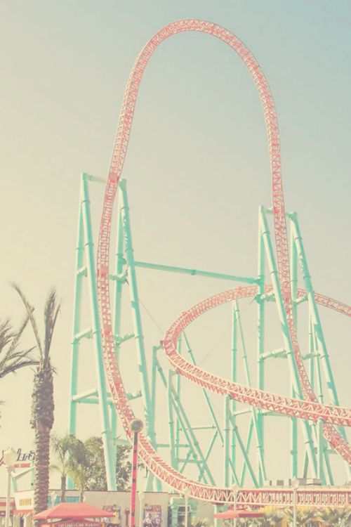 Roller Coaster Pink Mint Palm Trees Roller Coaster