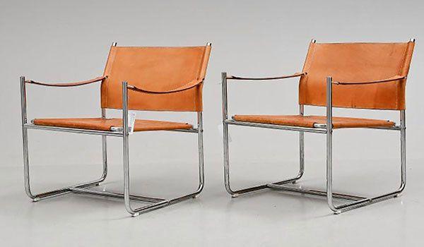 Sillas de metal y cuero Amiral diseñadas por Karin Mobring para Ikea.