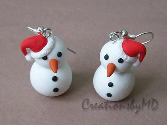 christmas earrings polymer clay fimo handmade by CreationsbyMD, $10.00