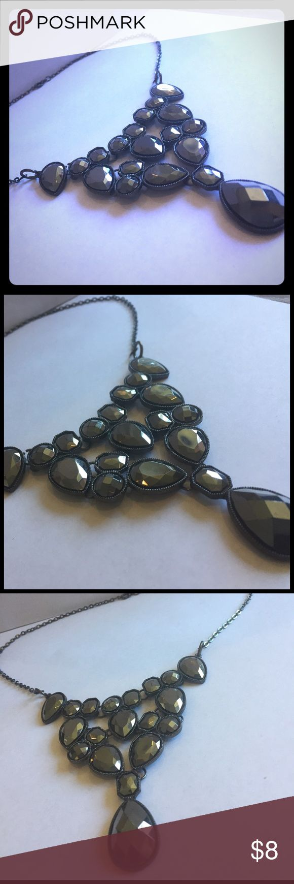 Charcoal & Black Chunky Silver Necklace Dress up any outfit with a charcoal silver and black accented bulky necklace. Jewelry Necklaces