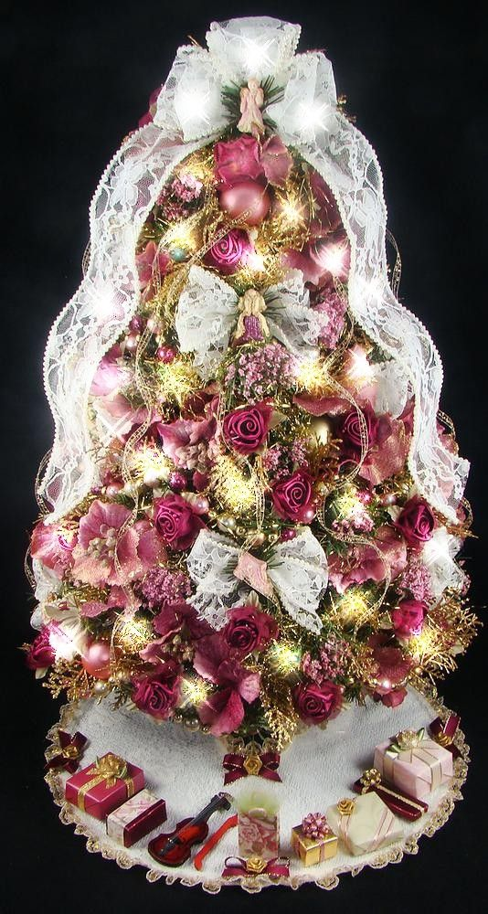 Victorian Tabletop Mini Christmas Tree - 21 Inches - Burgundy and Rose - 50 Clear Mini Lights - Tree Skirt - Matching Presents via Etsy