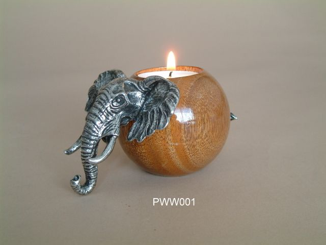 Pewter ball wood candle holder