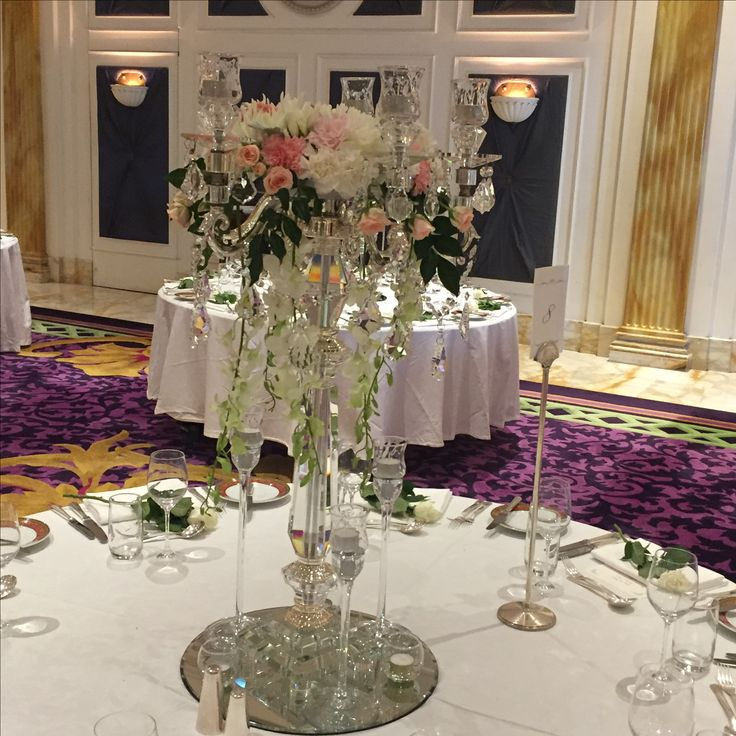 tall centrepieces blush pink, white and cream at Versace Hotel Gold Coast