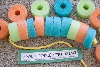 noodle stringing - quiet time activity