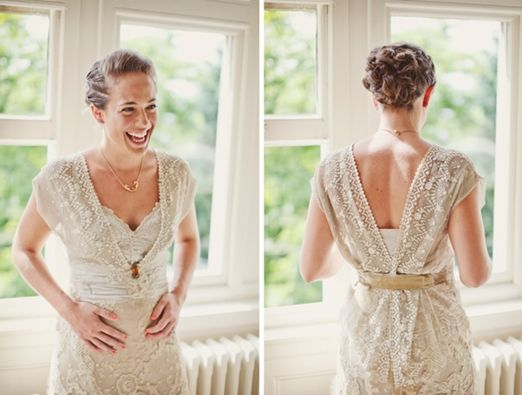 The story of a handmade bride's stunning antique lace Edwardian wedding dress from Lucy Says I Do