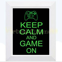 Keep Calm and Game On Keep Calm Videogame Print by Virtualcuteness