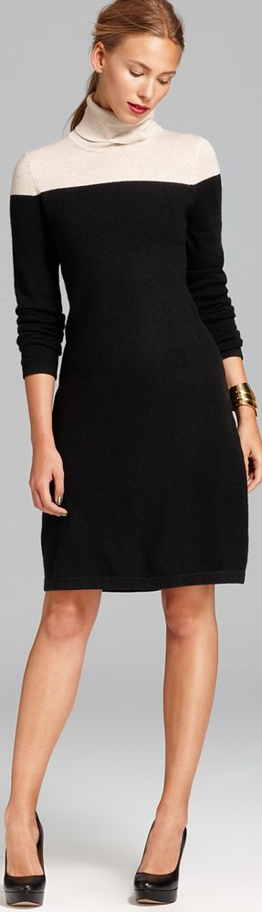 C by Bloomingdales Cashmere Color Block Turtleneck Dress
