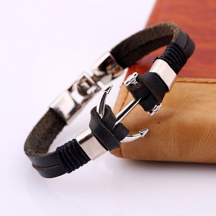 Men's leather bracelet, black, brown Genuine Leather Bracelet Men Anchor Bracelets