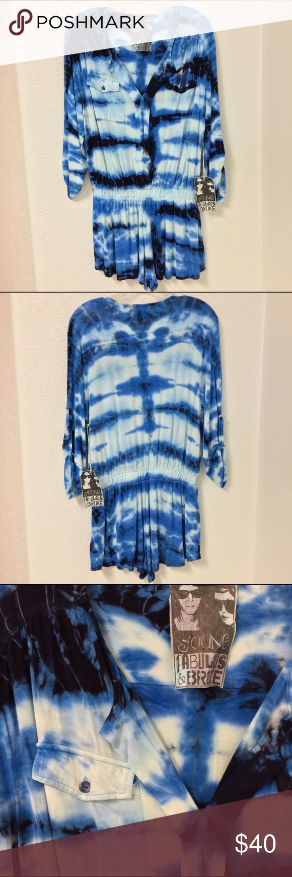 """Young Fabulous and Broke Tie-Dyed Beach Romper NWT, tie-dyed beach romper by Young Fabulous and Broke. Size small, overall length is 33"""", shorts length (measured from elastic band) is 10"""" long.  V-neckline, 2 front pockets, and roll tab sleeves. Material: 92% Modal 8% spandex. Young Fabulous & Broke Dresses"""
