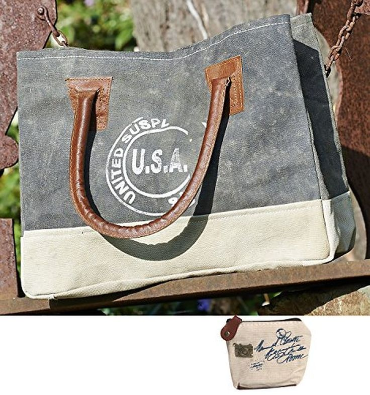 Mona B USA Stamped Upcycled Canvas Handbag M-2854 with Coin Purse