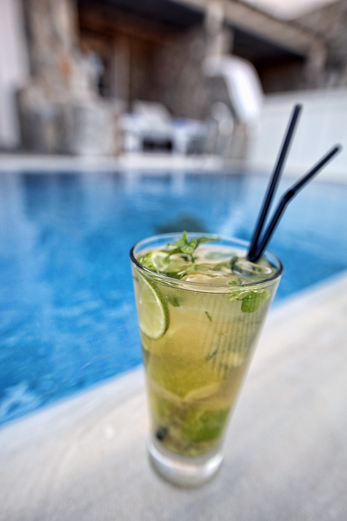 Pool Bar of Hotel Palladium in Mykonos island, Greece