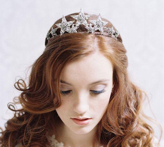 Bridal star tiara rhinestone bridal crown by EricaElizabethDesign