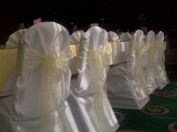 Lemon Organza Bows on White Chair Covers