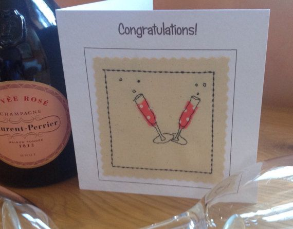 This champagne celebration card made by sewing organza onto a canvas background. The finished result is similar to that of a painted picture but far more special and unique. The needle was my pen and the fabric was my paint. This card would shine out from any others in a line up. It would be perfect for framing as a special memento to keep long after the event. Please let me know if you are interested in purchasing a frame for this card. Each card is individually handmade by me in my studio…
