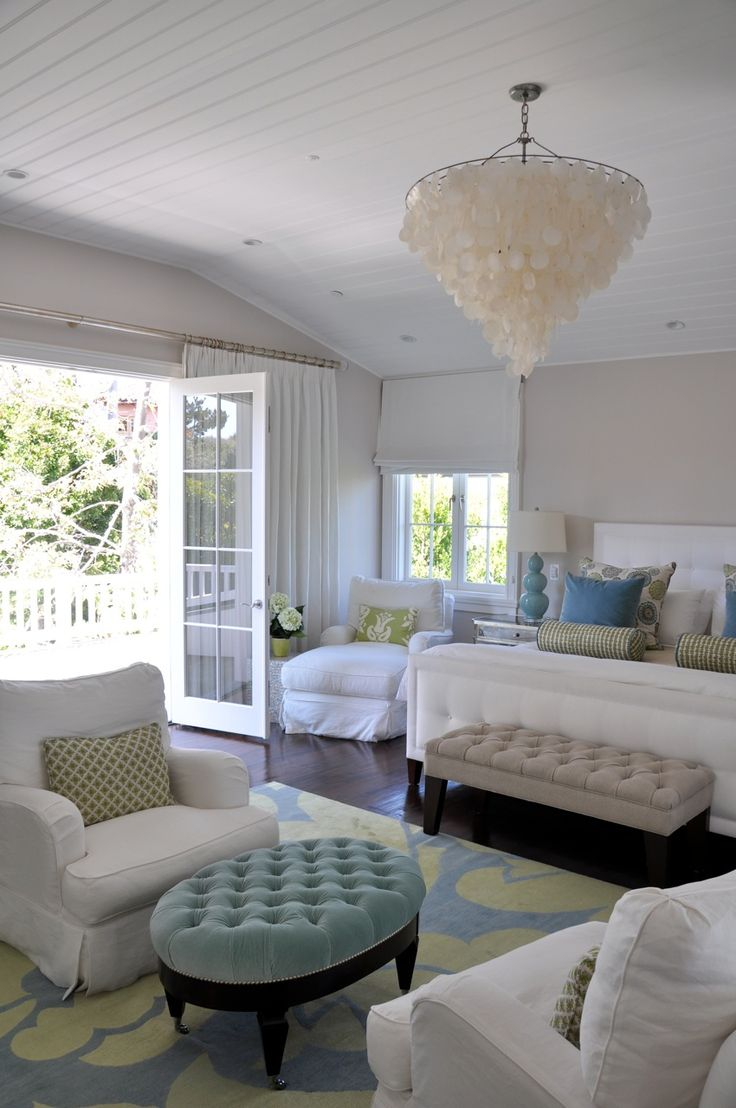 Coastal Living: Lights Fixtures, French Doors, Bedrooms Design, Blue Green, Master Bedrooms, Coastal Living, Capiz Chandeliers, Gray Wall, Sit Area