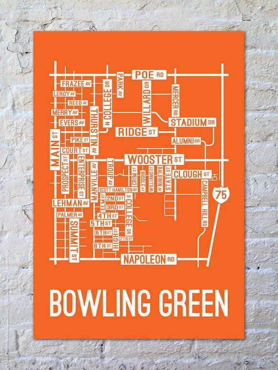 Bowling Green Ohio Street Map Screen Print Etsy In 2020 Bowling Green Ohio Street Map Screen Printing