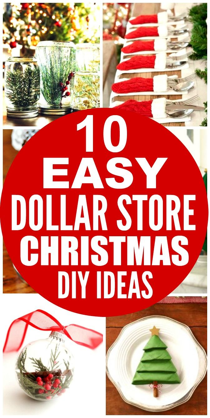 These 10 Dollar Store Christmas Decor Ideas are THE BEST! I'm so glad I found these AMAZING ideas! Now I have some cute and affordable ways to decorate my home! Definitely repinning!