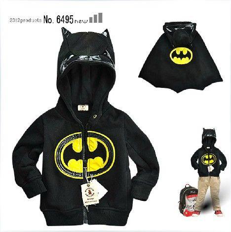 EMS Free Shipping  Boys children Hood coat jacket sweater childre clothing  BOYS BATMAN modeling New 5pcs/lot 3-7 years