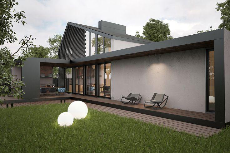 Ландшафт и архитектура загородного дома для отдыха. Современный экстерьер и минималистичный дизайн прекрасно отражает все функции, которые выполняет дом. - проект выполнили дизайнеры и архитекторы студии Zooi