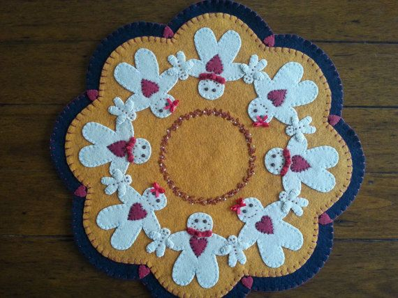 Gingerbread Family Candle Mat  Completed