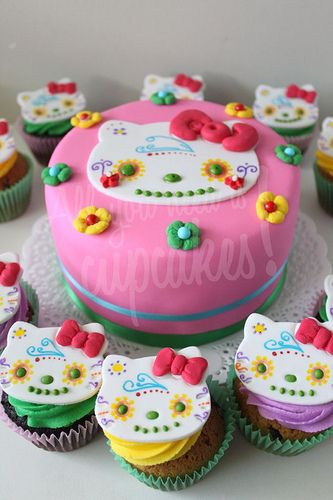 Hello Kitty Sugar Skull Cupcakes by All You Need is Cupcakes. http://www.needcupcakes.com.ar