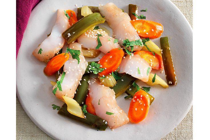 Rombo marinato con verdure agrodolci
