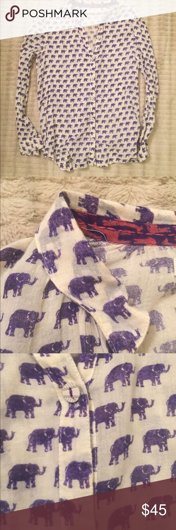 Anthropologie Elephant Shirt Lightweight button down shirt with purple elephants. Perfect for summer weather and a pop of color. Anthropologie Tops Button Down Shirts