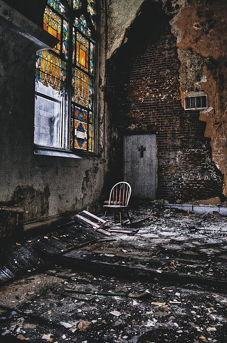 Abandoned Church Interior - North St. Louis City. Fine Art Abandoned Architecture Photography Prints and Wall Art.