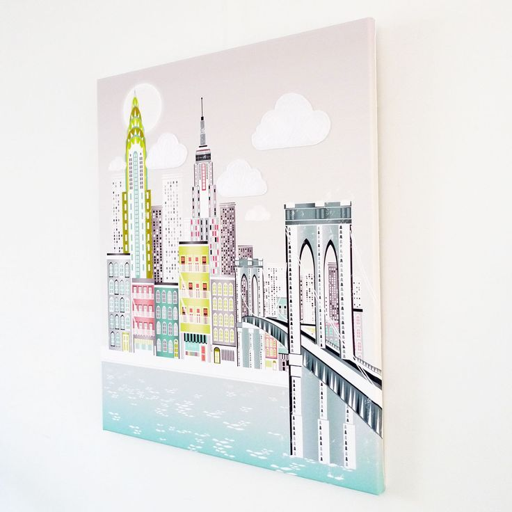 New York Wall Art Canvas Manhattan Skyline Print by lauraamiss