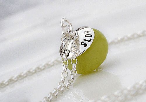 Hey Slow Down ( lime ) -kaulakoru by Pako korut. Slow life necklace.