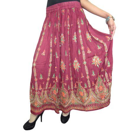 Mogul Woman's Maxi Skirt Maroon Sequin Embroidered Rayon Long Skirts  https://www.walmart.com/search/?query=MOGUL%20INTERIOR%20SKIRT