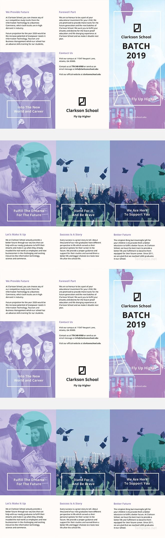 Free Graduation Brochure Template - Professional Brochure Design for College & University Study. Available in PSD, Illustrator, Word, InDesign, Publisher, iPages.
