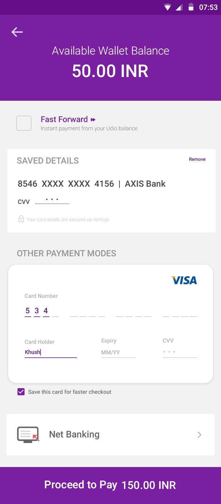 Payment User Interface Design