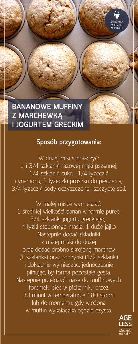 """W ramach cyklu """"Śniadania Wiecznie Młodych"""" prezentujemy przepis na przepyszne muffiny, których głównymi składnikami są produkty nie tylko zdrowe, ale dodadzą wam również energii na cały dzień – banany, marchew oraz jogurt grecki.  #ageless #wieczniemlodzi #wiecznamlodosc #zdrowie #muffiny www.ageless.pl"""