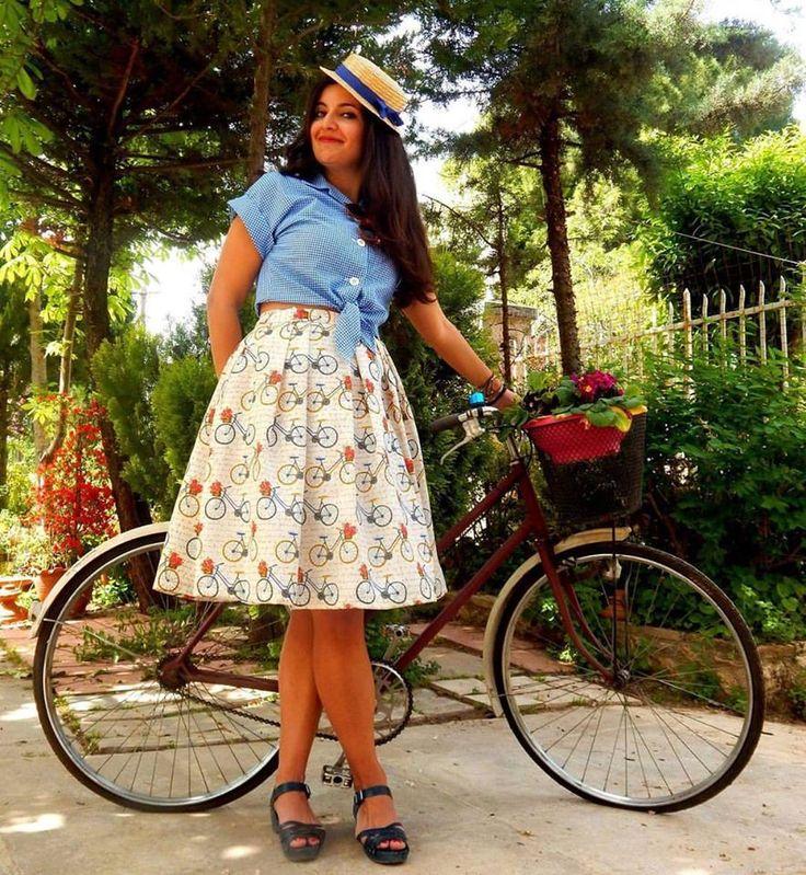 Custom made full skirt and gingham shirt
