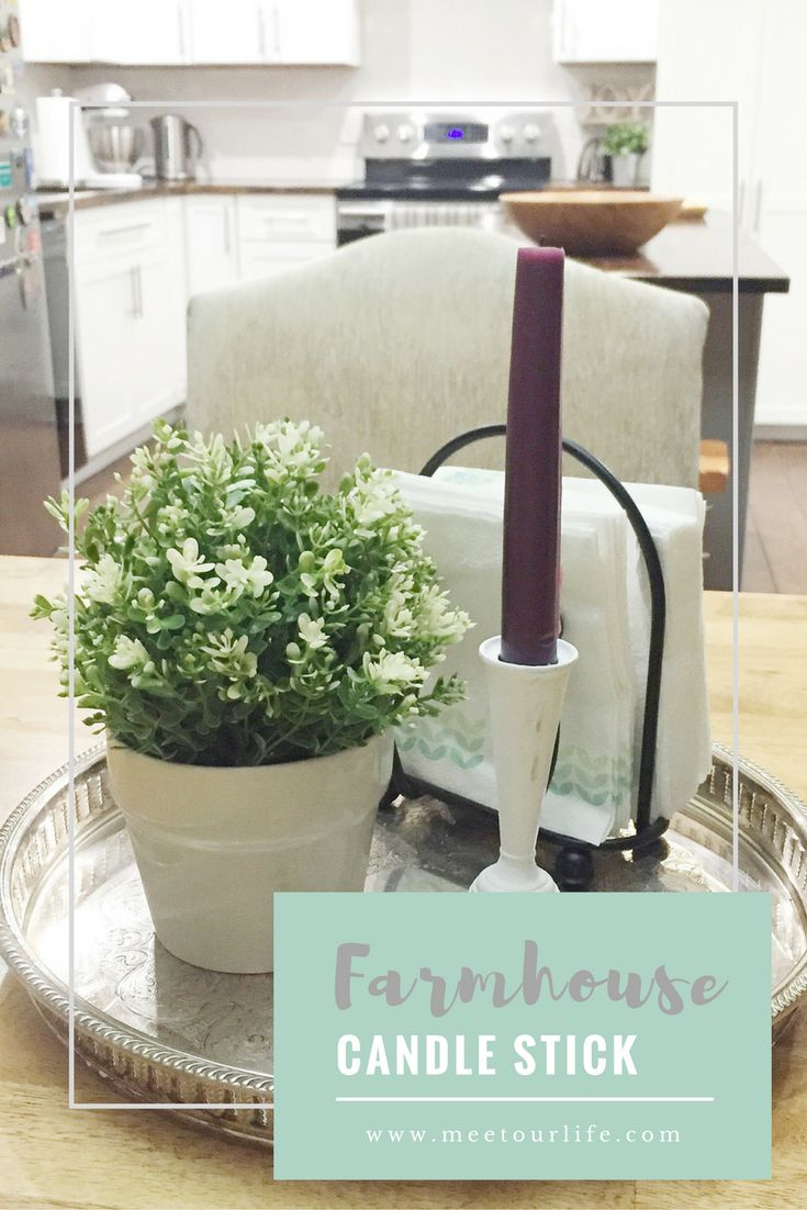DIY Farmhouse Candle Stick - This easy diy farmehouse candle stick will bring the fixer upper to your home! Click through or repin for later! www.meetourlife.com