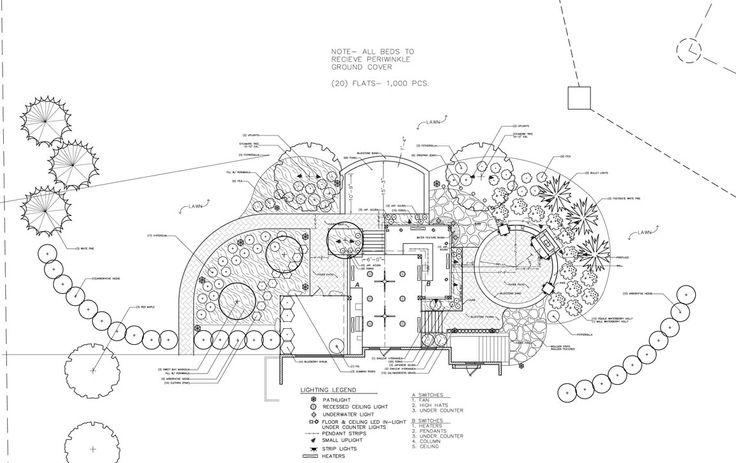 Landscape Plans with deck, outdoor kitchen, outdoor fireplace, patios & walkways http://www.gardendesigninc.com/