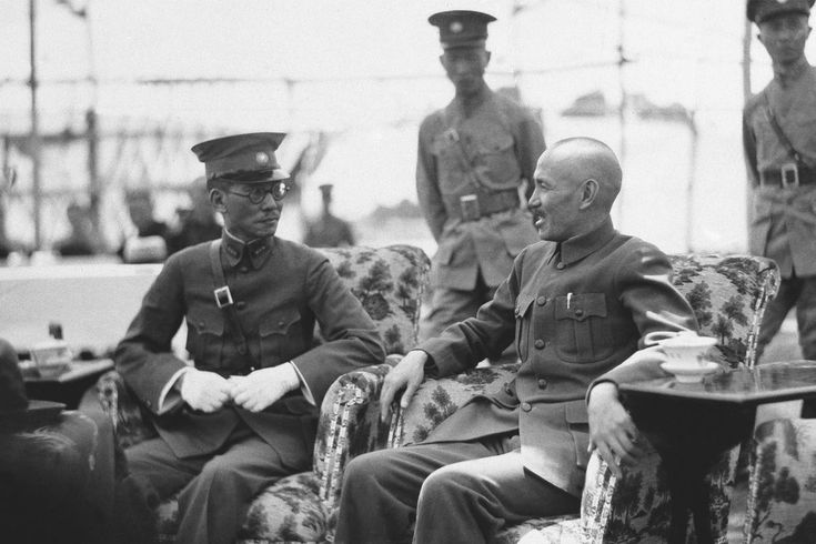 Generalissimo Chiang Kai-shek, right, Chairman of the National Military Council, Chairman of the Nationalist Government of China, and President of the Republic of China, with General Long Yun, left, Warlord and Governor of the province of Yunnan,...
