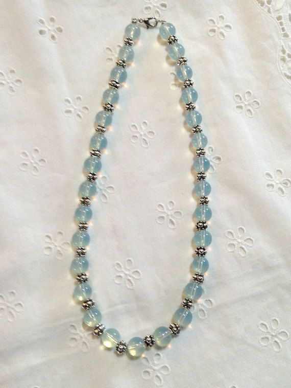 Translucent Blue and Silver Beaded Necklace by PebblesAndTwiggs
