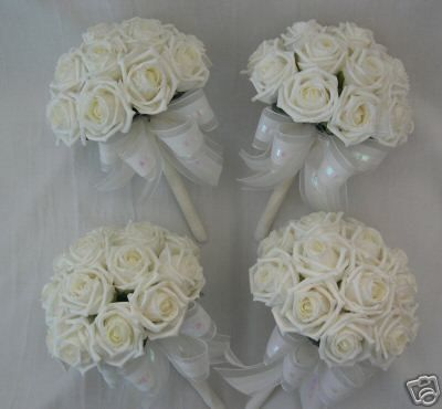 4 X Ivory Rose Posy Bouquets Bridesmaids Wedding Flowers