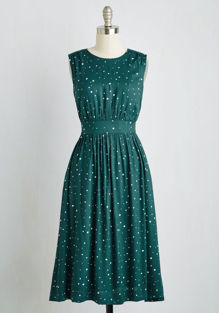 Too Much Fun Dress in Emerald Speckles - Long, #ModCloth