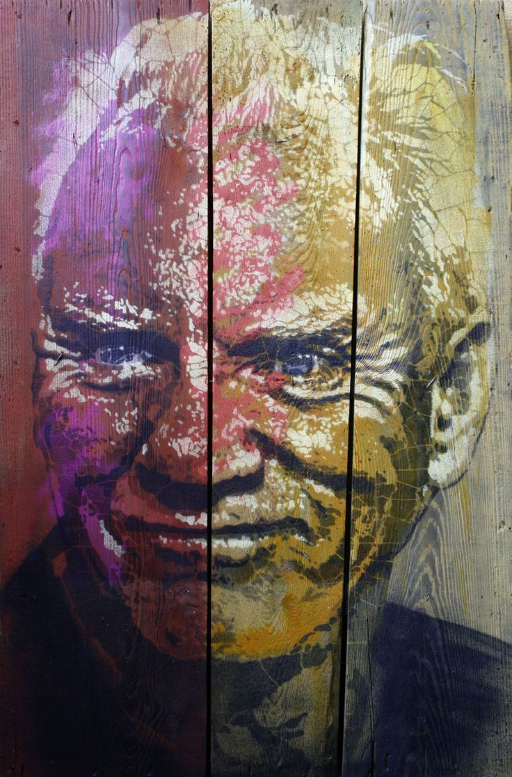 ORTICANOODLES, Portrait of Malcolm McDowell, Stencil on found object, 68x102 cm, 2013